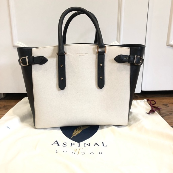 73bd2b025281 Aspinal of London Bags | Aspinal Marylebone Saffiano Black White ...